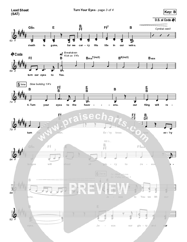 Turn Your Eyes Lead Sheet (SAT) (Sovereign Grace)