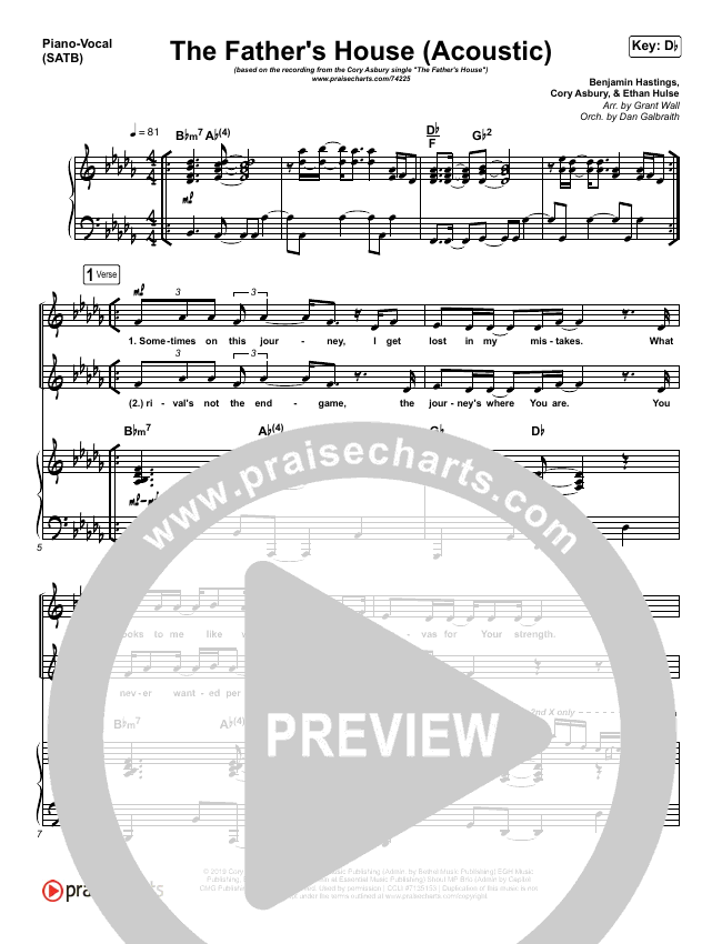 The Father's House (Acoustic) Piano/Vocal (SATB) (Cory Asbury)