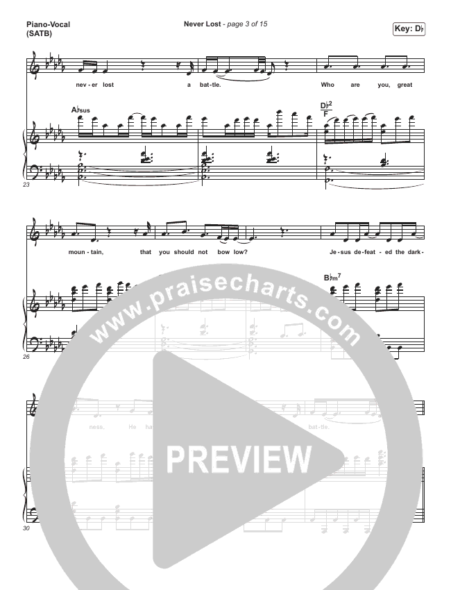 Never Lost Piano/Vocal (SATB) (All Nations Music)