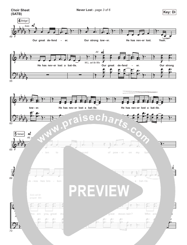 Never Lost Choir Sheet (SATB) (All Nations Music)