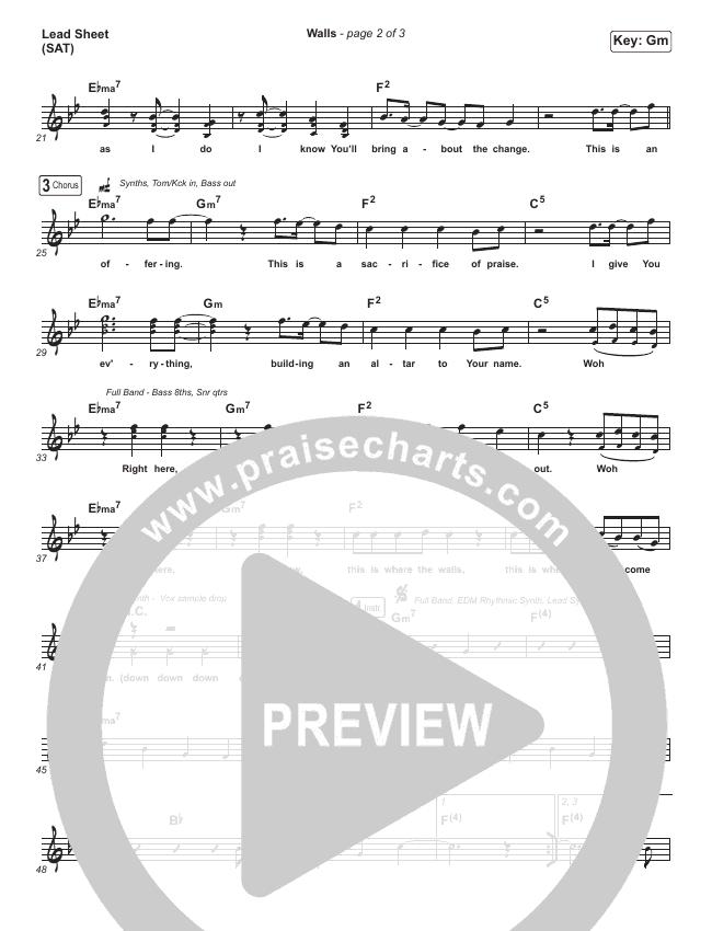 Walls Lead Sheet (SAT) (Planetshakers)