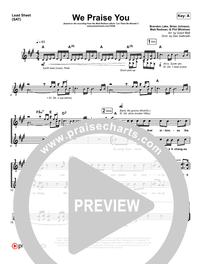 We Praise You (Live) Lead & Piano/Vocal (Matt Redman / Brandon Lake)