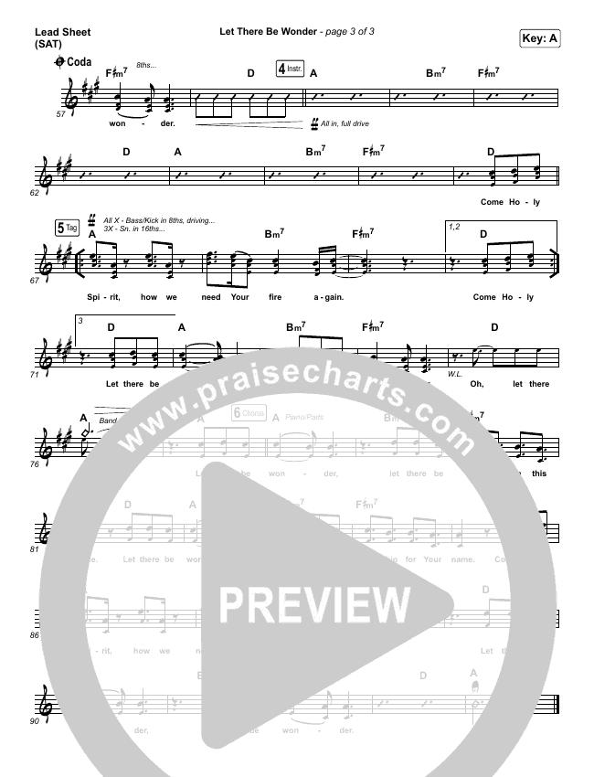 Let There Be Wonder (Live) Lead Sheet (SAT) (Matt Redman)