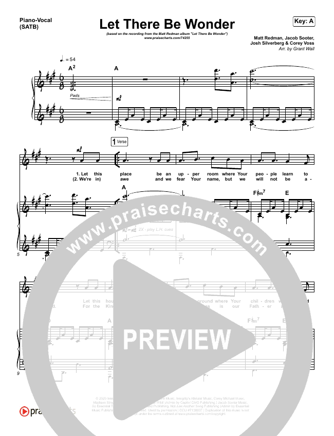 Let There Be Wonder (Live) Piano/Vocal (SATB) (Matt Redman)
