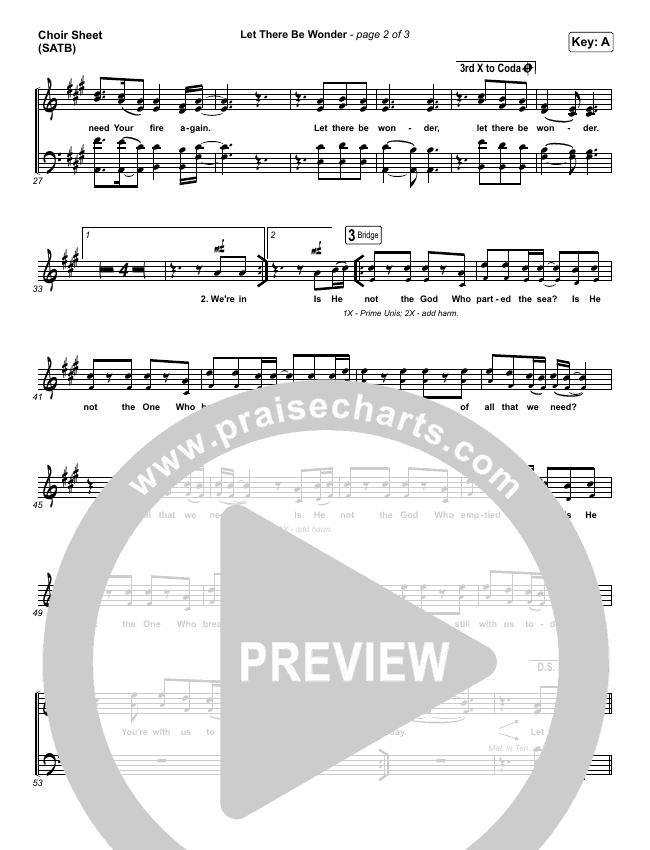 Let There Be Wonder (Live) Choir Sheet (SATB) (Matt Redman)