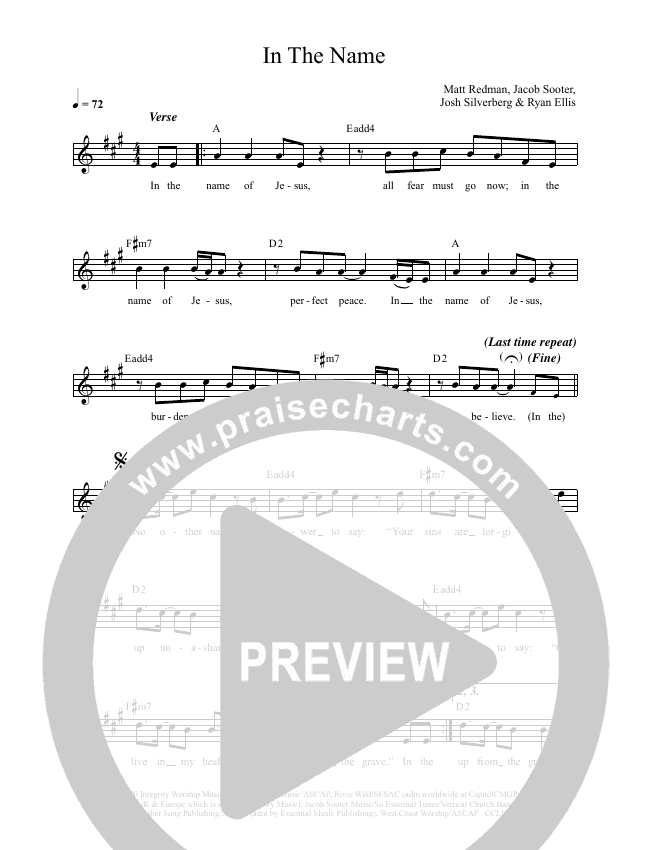 In The Name (Live) Lead Sheet Melody (Matt Redman)