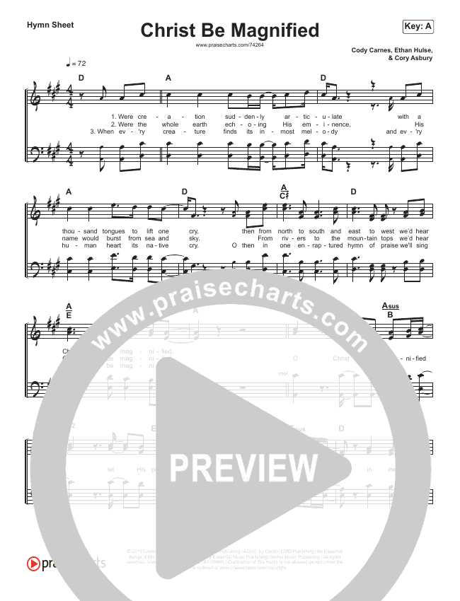 Christ Be Magnified (Simplified) Hymn Sheet (Cody Carnes)