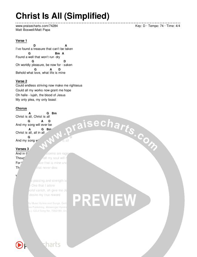 Christ Is All (Simplified) Chord Chart (Matt Boswell/Matt Papa)