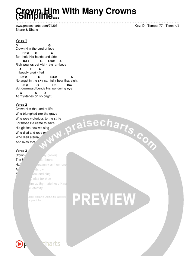 Crown Him With Many Crowns (Simplified) Chords & Lyrics (Shane & Shane)