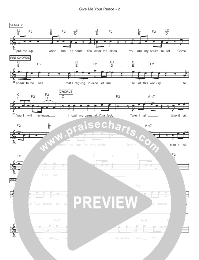 Give Me Your Peace Lead Sheet (SAT) (Gateway Worship / Zac Rowe)