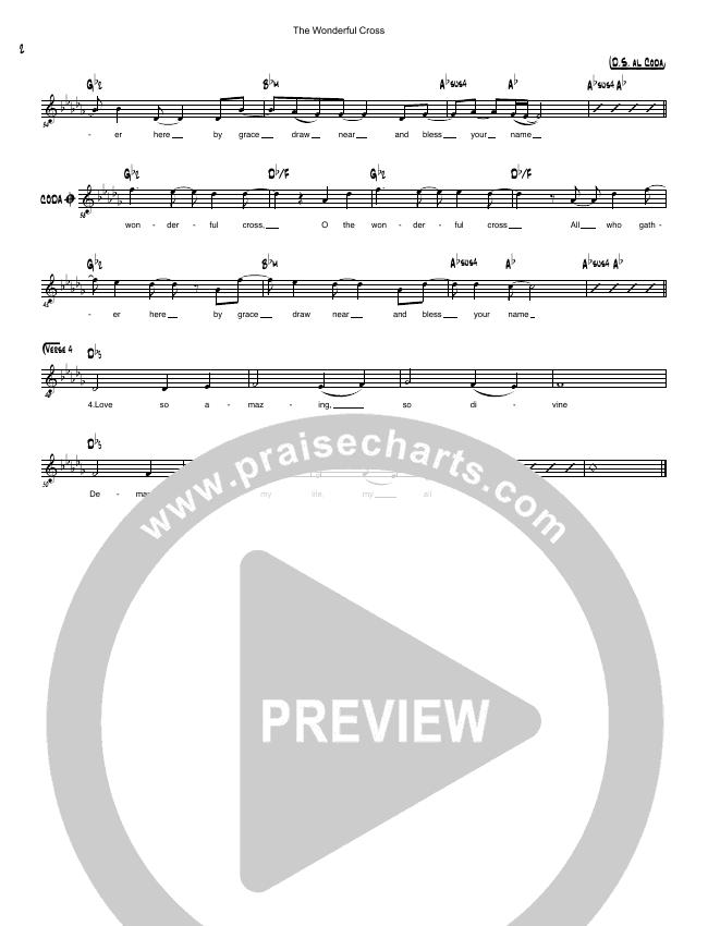 The Wonderful Cross Lead Sheet (Simple Hymns / Pat Barrett)