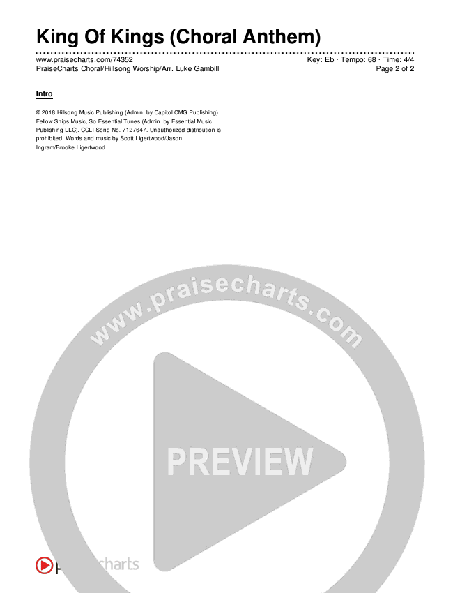 King Of Kings (Choral) Chords & Lyrics (PraiseCharts Choral / Hillsong Worship / Arr. Luke Gambill)