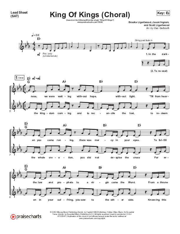 King Of Kings (Choral) Orchestration (PraiseCharts Choral / Hillsong Worship / Arr. Luke Gambill)
