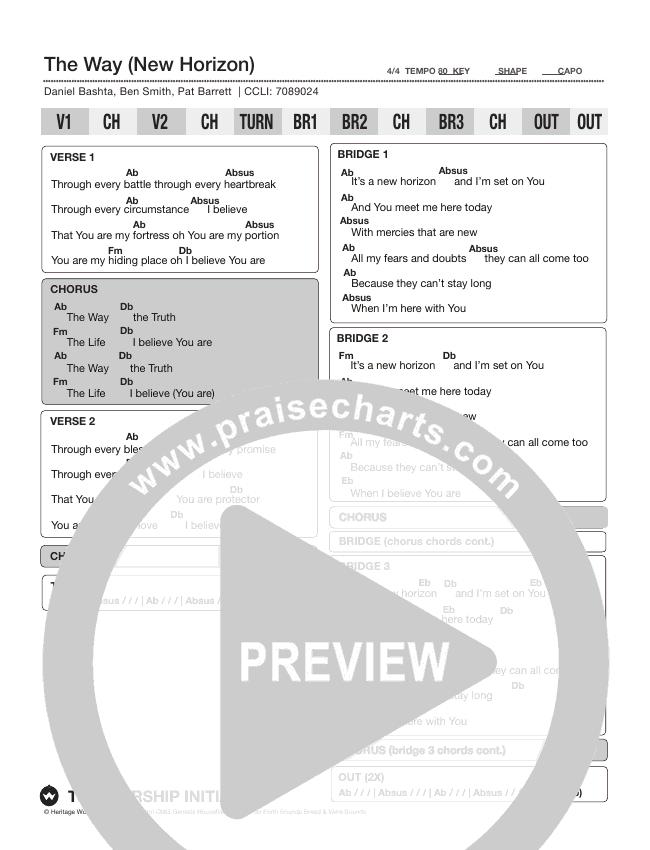 The Way (New Horizon) Chord Chart (Shane & Shane/The Worship Initiative)