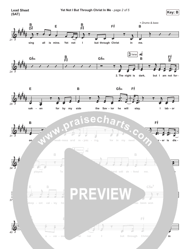 Yet Not I But Through Christ In Me Lead Sheet (SAT) (Shane & Shane/The Worship Initiative)