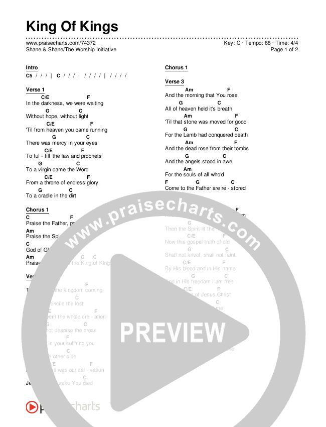 King Of Kings Chords & Lyrics (Shane & Shane/The Worship Initiative)