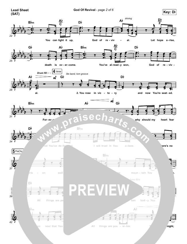 God Of Revival (Live) Lead Sheet (SAT) (Bethel Music)