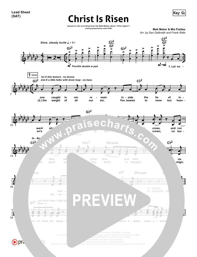 Christ Is Risen Piano/Vocal Pack (Matt Maher)
