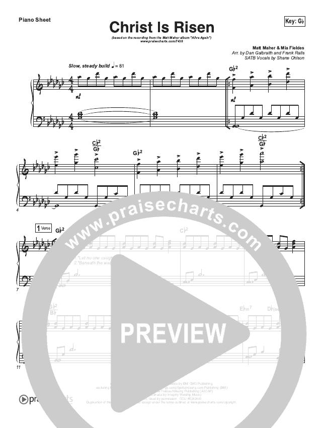 Christ Is Risen Piano Sheet (Matt Maher)