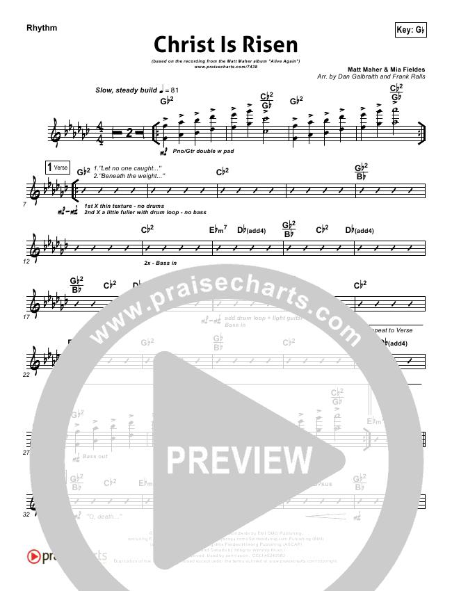 Christ Is Risen Rhythm Chart (Matt Maher)