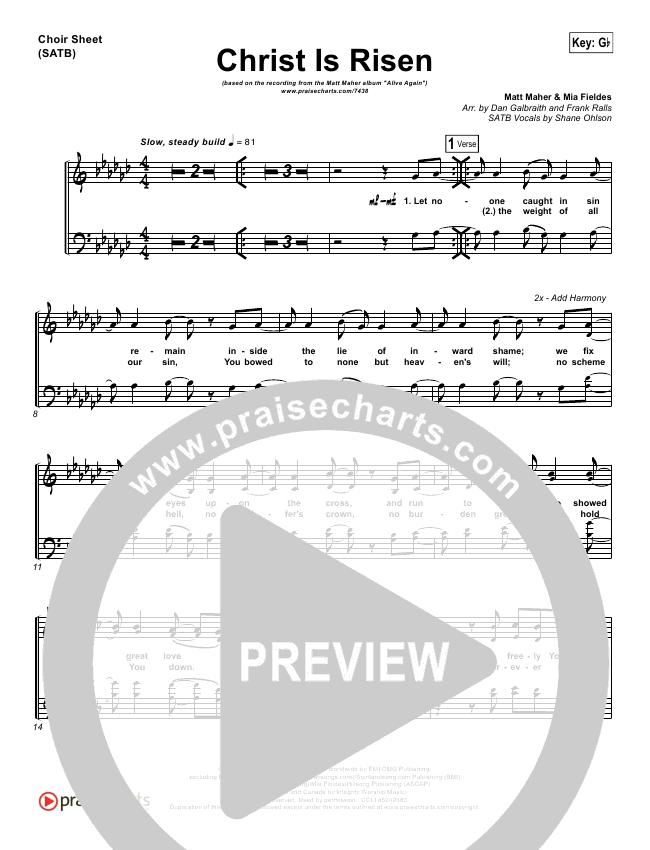Christ Is Risen Choir Sheet (SATB) (Matt Maher)