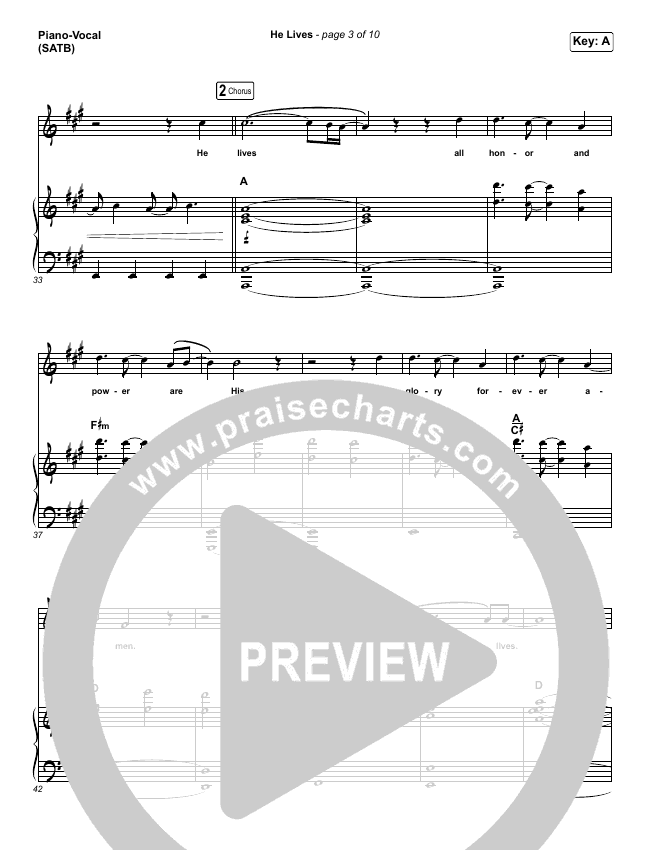 He Lives Piano/Vocal (SATB) (Church Of The City)