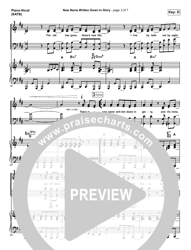 New Name Written Down In Glory Piano/Vocal (SATB) (People & Songs)