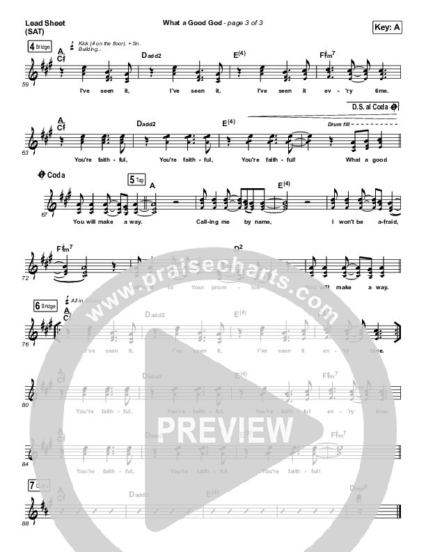 What A Good God Lead Sheet (SAT) (Paul Baloche)