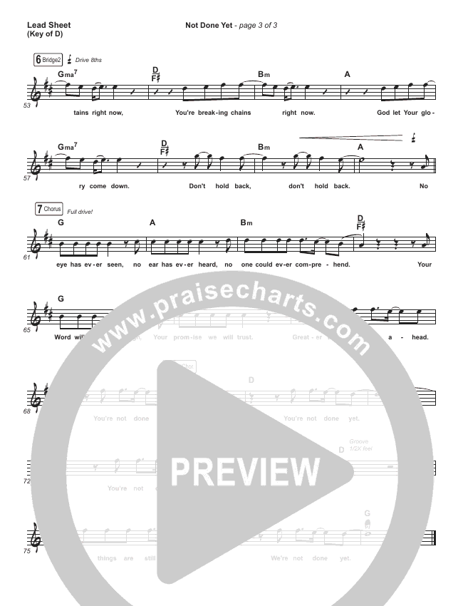 Not Done Yet Lead Sheet (Melody) (Vertical Worship)
