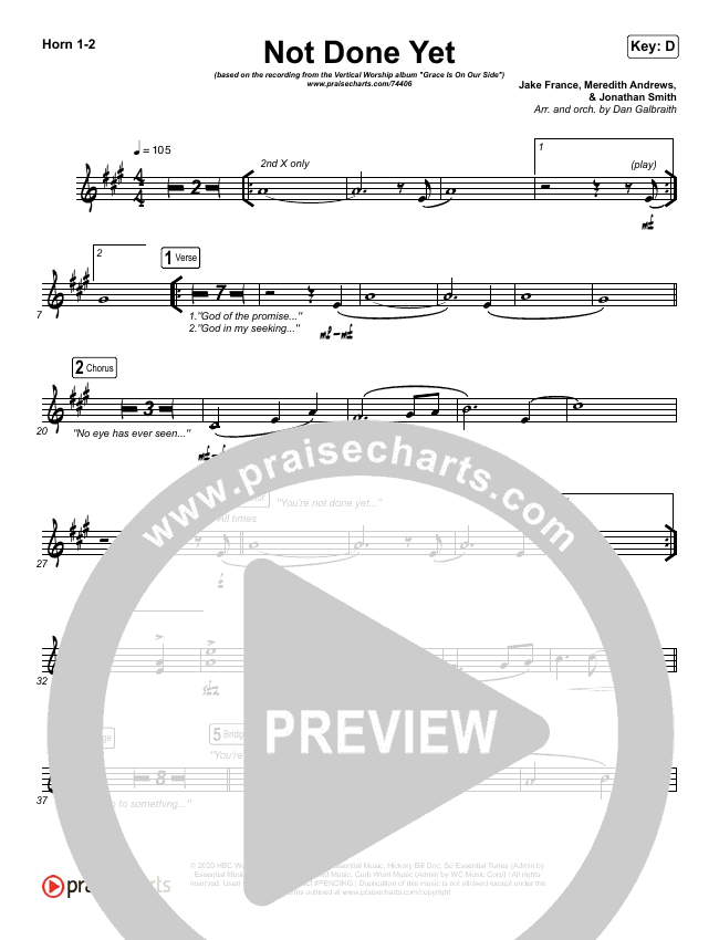 Not Done Yet Brass Pack (Vertical Worship)