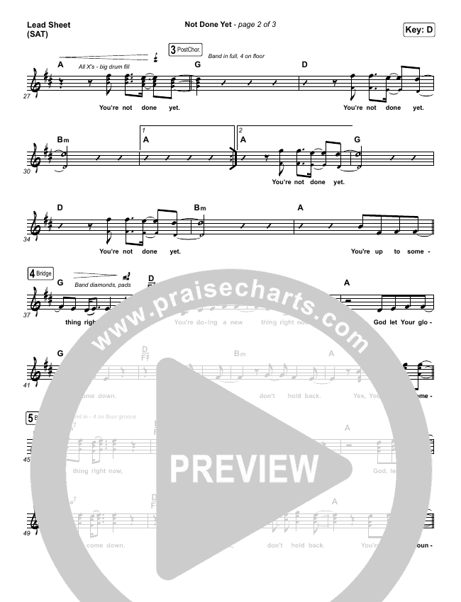 Not Done Yet Lead Sheet (SAT) (Vertical Worship)