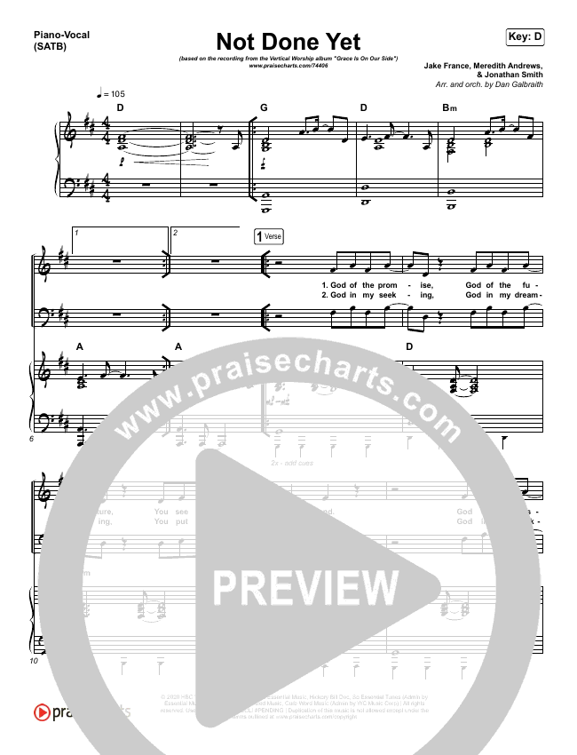 Not Done Yet Piano/Vocal (SATB) (Vertical Worship)