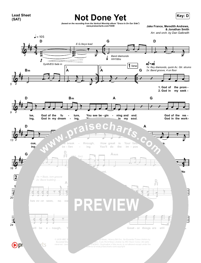 Not Done Yet Piano/Vocal Pack (Vertical Worship)