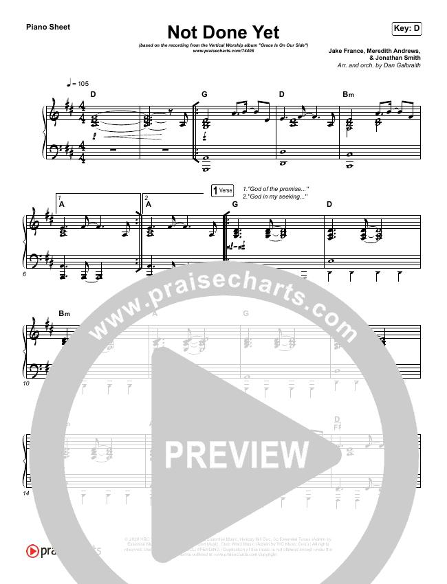 Not Done Yet Piano Sheet (Vertical Worship)