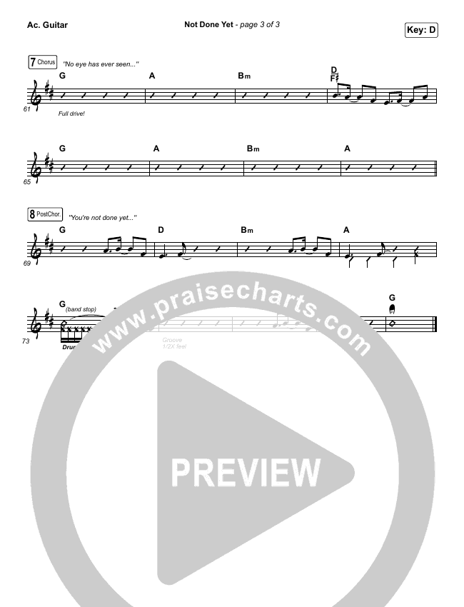 Not Done Yet Rhythm Chart (Vertical Worship)