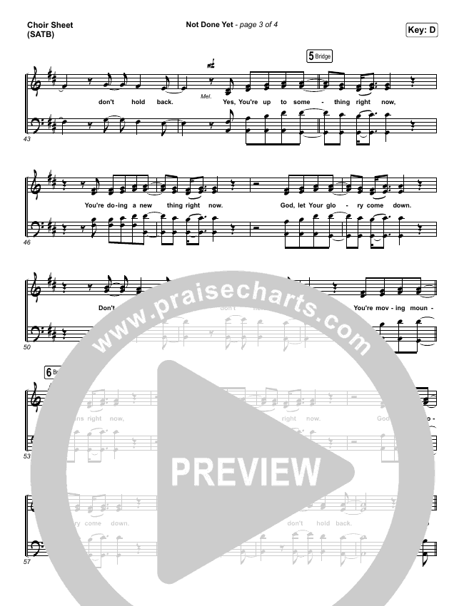 Not Done Yet Choir Sheet (SATB) (Vertical Worship)