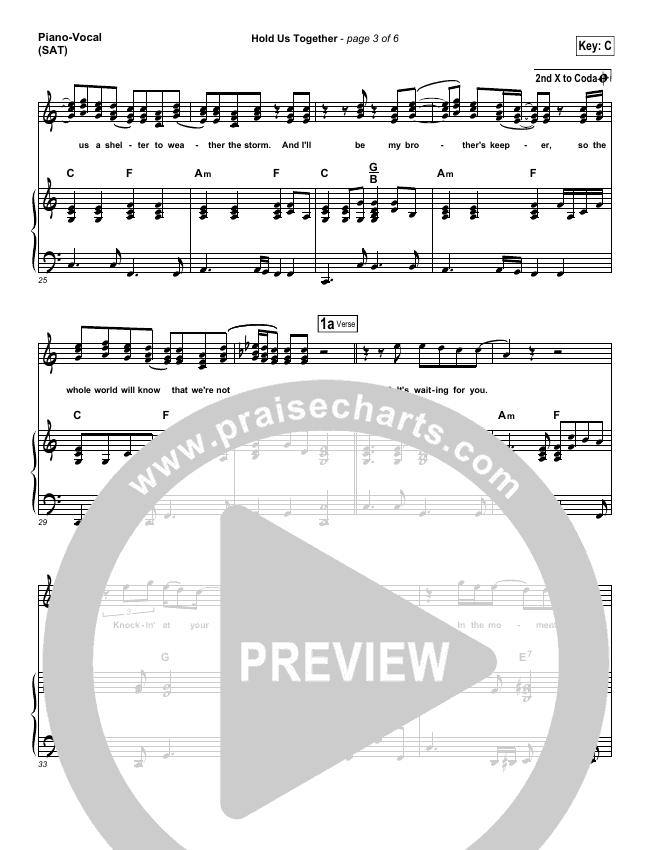 Hold Us Together Piano/Vocal (SATB) (Matt Maher)