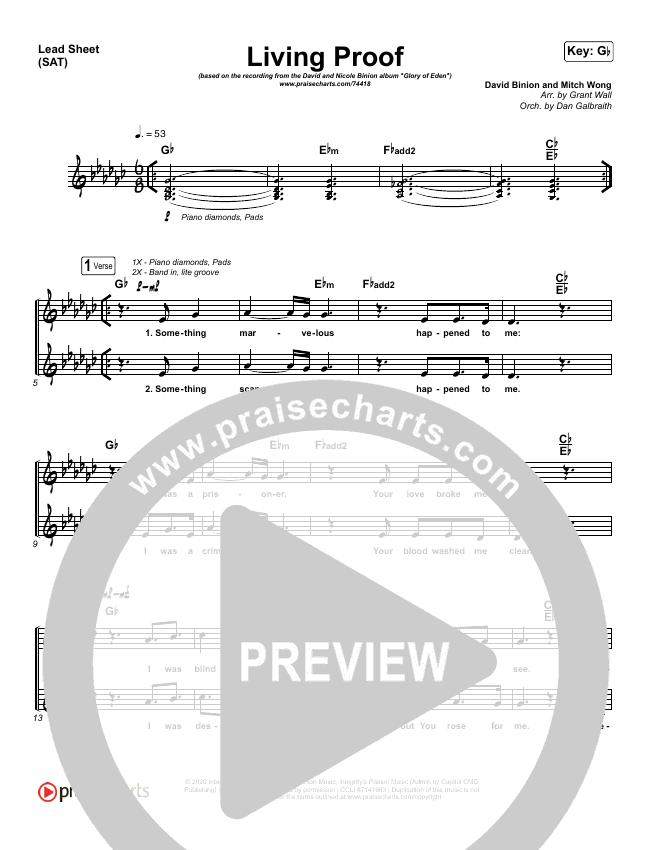 Living Proof Piano/Vocal Pack (David & Nicole Binion / Steffany Gretzinger)