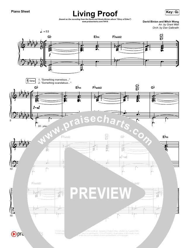 Living Proof Piano Sheet (David & Nicole Binion / Steffany Gretzinger)