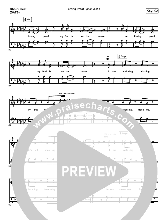Living Proof Choir Sheet (SATB) (David & Nicole Binion / Steffany Gretzinger)