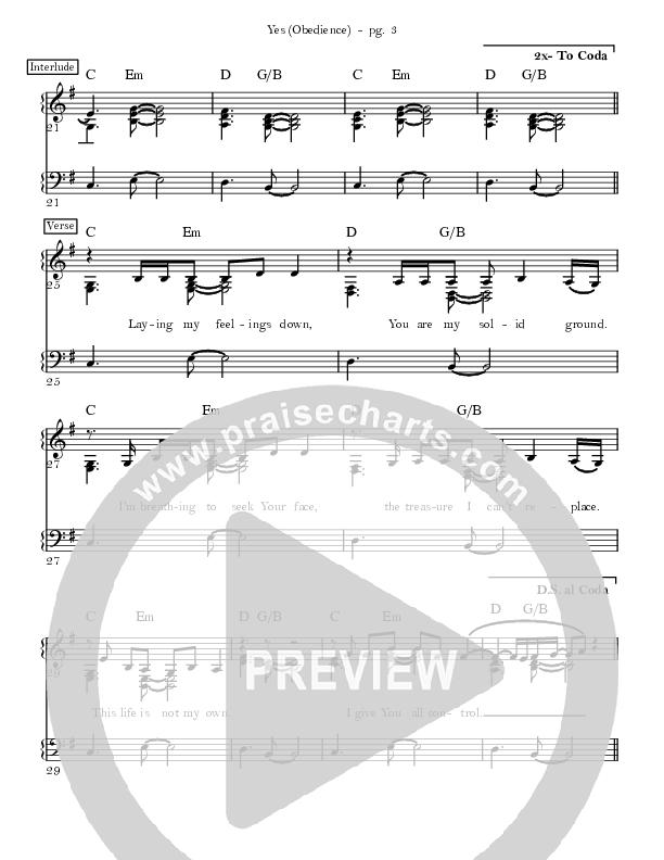 Yes (Obedience) Lead & Piano (David & Nicole Binion / MDSN)