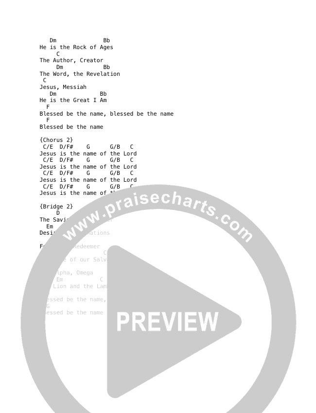 Blessed Be The Name Chord Chart (David & Nicole Binion)