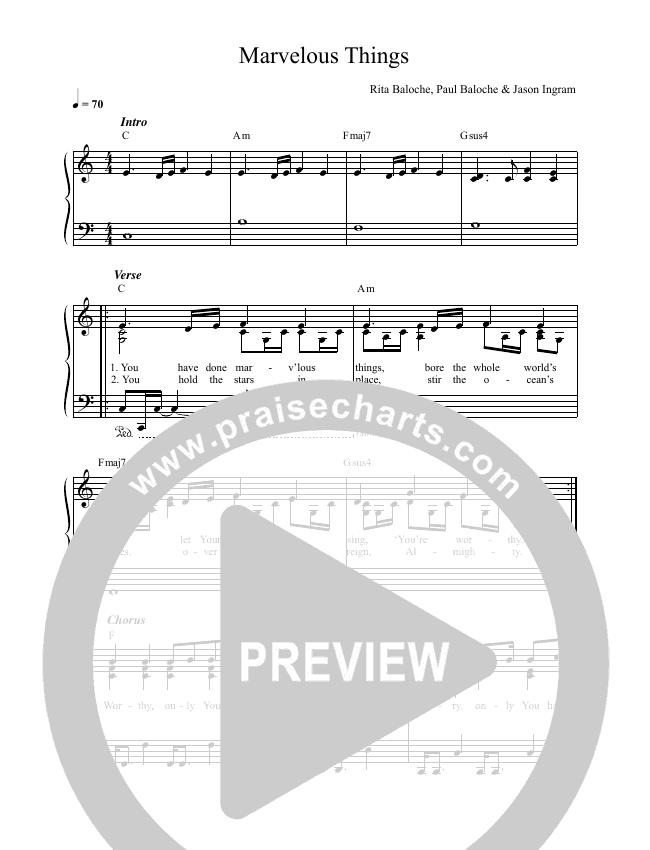 Marvelous Things Lead & Piano (Paul Baloche / Kari Jobe)