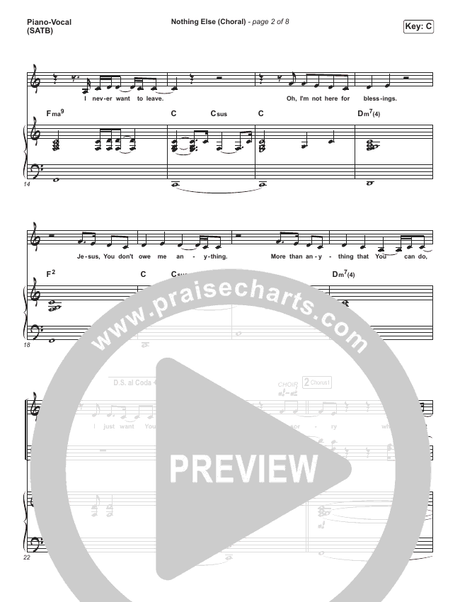 Nothing Else (Choral) Orchestration (PraiseCharts Choral / Cody Carnes)