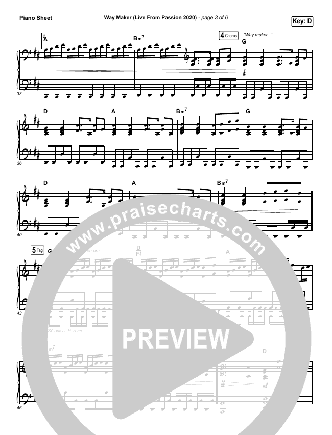 Way Maker (Live From Passion 2020) Piano Sheet (Passion / Kristian Stanfill / Cody Carnes / Kari Jobe)