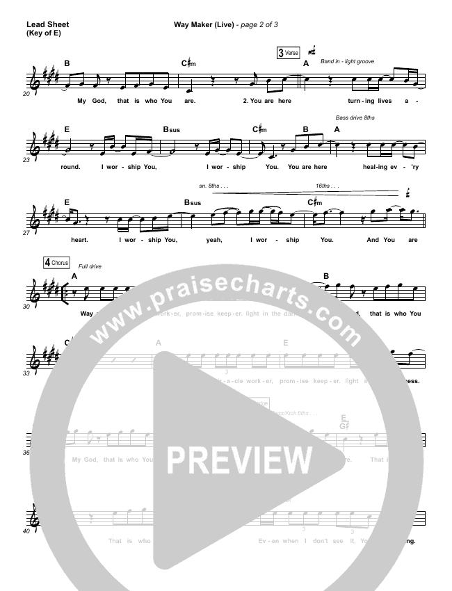 Way Maker (Single) Lead Sheet (Melody) (Leeland)