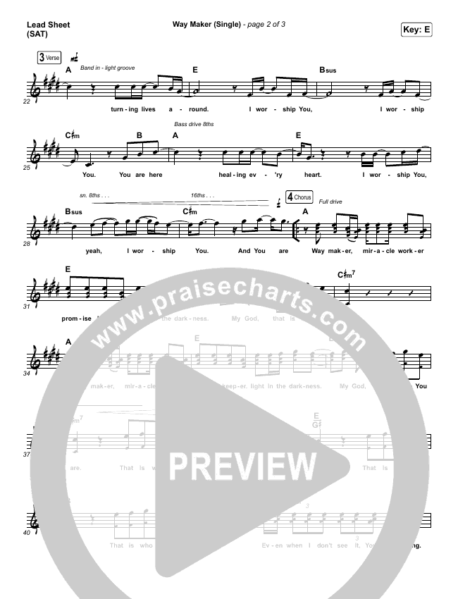 Way Maker (Single) Piano/Vocal Pack (Leeland)