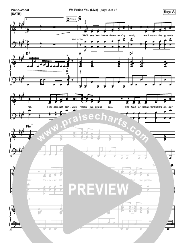We Praise You (Live) Piano/Vocal (SATB) (Bethel Music / Brandon Lake)