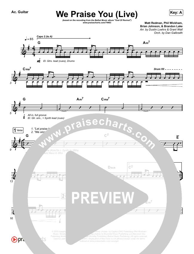 We Praise You (Live) Rhythm Chart (Bethel Music / Brandon Lake)