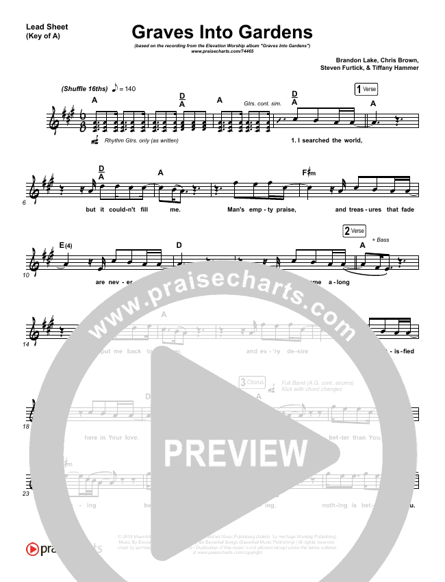 Graves Into Gardens (Live) Lead Sheet (Melody) (Elevation Worship / Brandon Lake)